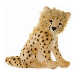 Hansa - Hansa Toys Cheetah Cub - Hansa Cheetah Cub is handcrafted of beige plush with black spots.  Ages 3 and up. Airbrushed for detail.