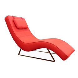 """Whiteline - Soho Chaise in Red - Soho Chaise; Red leatherette chaise with adjustable headrest; Chrome base; Color: Red; Primary Material: Leatherette/Chrome; Assembly not required; Weight: 50 lbs; Dimensions: 26""""L x 66""""W x 36""""H"""