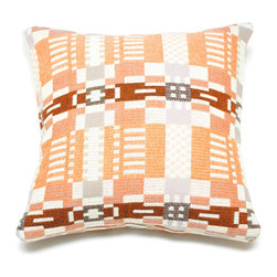 Donna Wilson, SCP - Nos Da Pillow - Coral/Almond - Donna Wilson, SCP - Donna Wilson, a genius when it comes to woven home accessories, created these wonderfully bright and cheery pillows based on a traditional plaid pattern. Each piece is made from 100% wool and is spun and dyed in England and then double woven in Wales by a traditional Mill. Each pillow has a 100% feather insert.