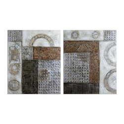 Uttermost - Uttermost Connection 48x40 Canvas Art I, II (Set of 2) - This artwork is hand painted on canvas that has been stretched and mounted to wood stretching bars. Due to the handcrafted nature of this artwork, each piece may have subtle difference.