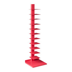 Colonne Media Storage in Coral - Think outside the box when it comes to display cases and storage units. With its eye-catching pink vertebral form, the Colonne Media Storage adds a fresh and contemporary look to any space. The fun, versatile shelving unit can be incorporated into a variety of different interiors, and can hold large coffee table books, DVDs, paperbacks, and glossies.