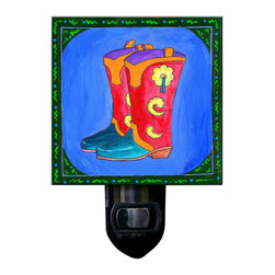Cowboy Boots Night Light - Our Cowboy Boots Night Light will brighten any room.  It is made of a print of original painting by Northwest artist Pamela Corwin, which is sandwiched in between two layers of durable acrylic. The light is UL approved and comes with a standard four watt night light bulb. Gift box included. Made in the USA . (Be sure to look for our boots alarm clock and wall clock, too!)
