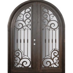 "Barcelona 72x96 Round Top Forged Iron Double Door 14 Gauge Steel - ""SKU#    PHBFBRTDR4Brand    GlassCraftDoor Type    ExteriorManufacturer Collection    Buffalo Forge Steel DoorsDoor Model    BarcelonaDoor Material    SteelWoodgrain    Veneer    Price    8665Door Size Options      $Core Type    one-piece roll-formed 14 gauge steel doors are foam filled  Door Style    Round TopDoor Lite Style    Radius Lite , Full LiteDoor Panel Style    Home Style Matching    Mediterranean , Victorian , Bay and Gable , Plantation , Cape Cod , Gulf Coast , ColonialDoor Construction    Prehanging Options    PrehungPrehung Configuration    Double DoorDoor Thickness (Inches)    1.5Glass Thickness (Inches)    Glass Type    Double GlazedGlass Caming    Glass Features    Insulated , TemperedGlass Style    Glass Texture    Clear , Glue Chip , RainGlass Obscurity    Door Features    Door Approvals    Wind-load RatedDoor Finishes    Three coat painting process"