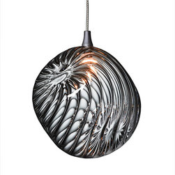 Shakuff - Cubes Glass Pendant Light, Clear - Why simply light when you can delight? A squared off globe of striated hand-blown glass dazzles as it dangles above your favorite setting for a magical celestial effect.