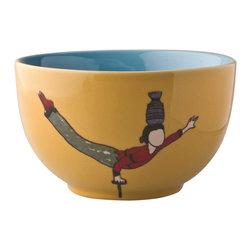 Piling Palang - Piling Palang - Acrobats Yellow Bowl - Set of 2 - Ceramics Yellow Bowl with Acrobats. The acrobats collection - Set with two bowls