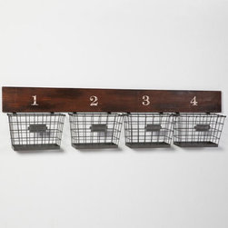 Wood and Wire Wall Multi Basket - I love the look of metal and wood together, and this set would look especially sharp (and functional) mounted to the wall above a desk. It offers additional storage for books and notebooks without taking up precious desk space.