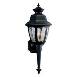 Progress Lighting - P5738-31 Progress Lighting Newport - Progress Lighting P5738-3 Torch Outdoor Sconce Wall torch with clear beveled acrylic panels. ,. This Progress Lighting item is available in black. Illuminated by one 60-watt clear incandescent bulb.