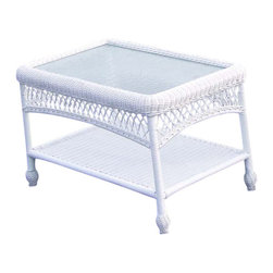 Wicker Paradise - Outdoor Wicker Coffee Table: Cape Cod Rectangular - A hard to find outdoor wicker coffee table that includes glass and a bottom shelf for convenient storage. Our coffee table has beautiful braiding and open lattice work design.  - ALL WEATHER Wicker!  - Maintenance-free premium resin wicker.