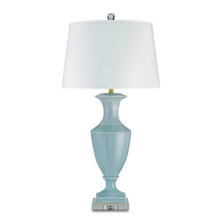 Currey and Company - Timeless Table Lamp, Blue - A traditional urn shaped lamp is given a modern and contemporary twist. The base is acrylic and the shade is a complimenting white parchment. A great lamp that can be used in numerous settings.