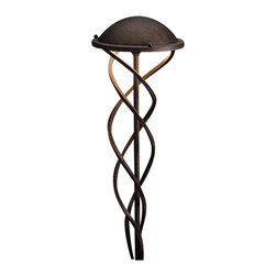 """Kichler 1-Light Landscape Fixture - Tannery Bronze - One light landscape fixture. Three twisted arms surround a single center stem for a contemporary look on this lighting path light. From the contours collection, it also features a dome shaped shade finished in a textured tannery bronze hue. Comes with 8"""" in-ground stake mounting accessory. Wiring is 34"""" of usable #18-2, spt-1-w leads. cable connector supplied with fixture."""