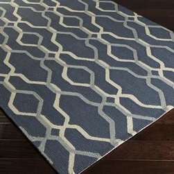 """Surya - Surya Rain RAI-1183 2'6"""" x 8' Blue, Ivory Rug - Rain or shine, these rugs look great outdoors! These hand hooked all weather rugs are manufactured to withstand the rigors of outdoor use. You don't need to worry about ruining your rug by spilling a drink or dropping food, just hose off and it's clean! The colors and designs we specially created to add to the outdoor ambiance."""