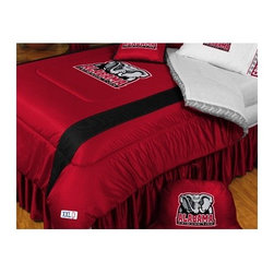"Sports Coverage - University of Alabama Crimson Sidelines Bedding Series - Show your spirit with a comforter, bed skirt, sham, shower curtain, bath set, and window treatment of your favorite sports team! Each piece in this collection has the authentic team logo screen printed in the center and features authentic team colors. These comforters and shams look and feel just like a real jersey! Comforter and sham feature a long mesh ""Sideline"" along either side of the logo for a stylish effect. Features: -Alabama Crimson Tide theme -""Sideline"" print on comforter and sham -Sham fits standard pillow size -Twin sheet set includes 1 fitted sheet, 1 top sheet, 1 pillow case -Full and Queen sheet sets include 1 fitted sheet, 1 top sheet, 2 pillow cases -Drapes available in regular and large sizes -Plush bath set includes toilet seat cover and bath mat -Bedding and shower curtain made from 100% polyester jersey mesh -Sheets are 100% cotton, soft and durable -Machine washable -Made in the USA Specifications: -Twin comforter: 66"" W x 86"" D -Full/Queen comforter: 86"" W x 86"" D -Toss pillow: 17"" x 17"" Square -Valance rod pocket: 3"" H -Valance header: 2"" H -Overall valance: 14"" H x 88"" L -Regular drapes: 82"" H x 63"" W -Large drapes: 82"" H x 84"" W -Shower curtain: 72"" H x 72"" W"