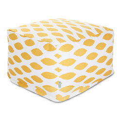 Majestic Home - Indoor Yellow Alli Large Ottoman - This awesome ottoman boasts all the comfort of a beanbag under a sophisticated print that kicks your casual setting up a notch in style. Use it as a footstool, coffee table or simply as a comfy seat and don't worries about spills or stains. The slipcover zips off for easy machine washing.