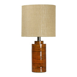 """Lamps Plus - Contemporary Tupilo Honey Bamboo Table Lamp - Make a statement with contemporary design. The piece is constructed out of bamboo and finished in a lovely honey. The lampshade is a cotton and polyester blend. Bamboo table lamp. Tupilo honey finish. Bamboo construction. Lampshade is cotton and polyester. Shade is 10"""" across the top 10"""" across the bottom and 9"""" high. 19 1/2"""" high.   Bamboo table lamp.  Tupilo honey finish.  Bamboo construction.  Lampshade is cotton and polyester.  Small table lamp size.  Shade is 10"""" across the top 10"""" across the bottom and 9"""" high.  19 1/2"""" high."""