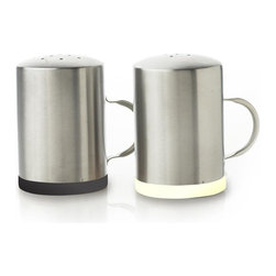 MOBOO® & Stainless Steel Salt & Pepper Shakers, Charcoal/Pepper, Natural/Salt - Made of sleek recycled stainless steel with MOBOO® (molded bamboo), this 2.75-inch-round, 4-inch-tall, durable, modern salt and pepper shaker set is a handsome addition to any kitchen table.