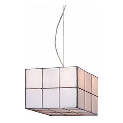 """Arturo Alvarez - Arturo Alvarez Domino pendant lamp - The Domino pendant lamp from Arturo Alvarez was designed by Arturo Alvarez and made in Spain. The Domino pendant lamp is a simple shape enhanced with the specific placement of glass squares stained with color on the diffuser. Originally within simplicity of shapes.   Products description: The Domino pendant lamp from Arturo Alvarez was designed by Arturo Alvarez and made in Spain. The Domino pendant lamp is a simple shape enhanced with the specific placement of glass squares stained with color on the diffuser. Originally within simplicity of shapes. Details:                         Manufacturer:                         Arturo Alvarez                                         Designer:                         Arturo Alvarez - 2002                                         Made  in:            Spain                            Dimensions:                         Height: 96"""" (243.8cm) X Width: 12.25"""" (31.1cm)                                                     Light bulb:                                      4 X 60W E12 Candelabra or 4 X 13W GX24 4-Pin Fluorescent                                         Material                         Metal, glass"""