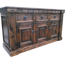 Durango Custom Buffet - Buffet shown has a dark walnut stain and no glaze.  It has been customized with no metal brackets along sides and 3-drawers and 3-doors.  Drawers all have dove tailed joints and ball bearing slides.  Can be customized to your liking!
