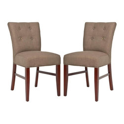 Safavieh - Alexa Side Chair - The classic styling of the Alexa side chair will make it a dining staple. With olive linen upholstery, and backrest detailing of four button tufts, Alexa is crafted with birch wood legs with cherry mahogany finish.
