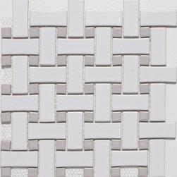 Ceramic White/Grey Basketweave Mosaic Tiles - Basketweave Mosaic Tiles from Mission Stone & Tile