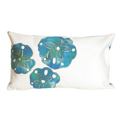 """Trans-Ocean - Sand Dollar Blue Pillow - 12""""X20"""" - The highly detailed painterly effect is achieved by Liora Mannes patented Lamontage process which combines hand crafted art with cutting edge technology.These pillows are made with 100% polyester microfiber for an extra soft hand, and a 100% Polyester Insert.Liora Manne's pillows are suitable for Indoors or Outdoors, are antimicrobial, have a removable cover with a zipper closure for easy-care, and are handwashable."""