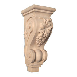 """Inviting Home - Santa Monica Small Wood Corbel - Cherry (C15SCH/cgs12) - wood corbel in cherry 12""""H x 5-1/4""""D x 5""""W Corbels and wood brackets are hand carved by skilled craftsman in deep relief. They are made from premium selected North American hardwoods such as alder beech cherry hard maple red oak and white oak. Corbels and wood brackets are also available in multiple sizes to fit your needs. All are triple sanded and ready to accept stain or paint and come with metal inserts installed on the back for easy installation. Corbels and wood brackets are perfect for additional support to countertops shelves and fireplace mantels as well as trim work and furniture applications."""