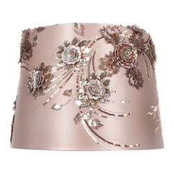 Brandi Renee Designs - All Lit Up Carmel Delight Lamp Shade - The All Lit Up Carmel Delight lampshade features elaborate sequin flowers in rich coppers, silvers and greens. Set against a lush ivory background, our stunningly handcrafted floral shade will make a dramatic statement in an upscale office or living room. Like every BRDesign lampshade, the All Lit Up Carmel Delight lampshade is handcrafted from the finest quality materials.