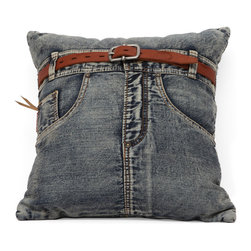 Zuo Modern - Jean Cushion Blue Denim w/ Front Jean - Made from recycled denim fabric sewn into a whimsical design, the Jean cushion is a must for any room.