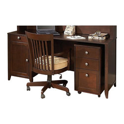 "Kathy Ireland Office by Bush Furniture - Kathy Ireland by Bush Grand Expressions 66"" Desk with 3 Drawer Mobile Filing Cab - Kathy Ireland Office by Bush Furniture - Office Sets - AMA009WM - Sacrifice no style points with the kathy ireland Office by Bush Furniture 66"""" double pedestal desk. The classically designed desk features two box drawers for office supplies plus a hanging file drawer and a wire management system. It's finished in warm molasses finish with antiqued pewter hardware. Safety features include rounded corners and edges to prevent collision injuries. Bush Furniture Quick-to-Assemble technology makes assembly three to five times faster."