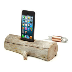 Rustic Pine wood Handmade iPhone Charging Dock - (iPhone not included), Charging - The epitome of modern electronic design is now paired up with the timeless, organic minimalism of nature. These docks for iPhone and iPod are handcrafted from natural driftwood, polished to a velvety smoothness by sand and surf before washing up on the stony shores of Maine. That's where Lee Goodwin and his team gather them, select each one for size and shape, and craft them to fit the contours and cord of your device. The juxtaposition of organic and artificial, contemporary and timeless transforms your personal electronics into a piece of functional art. Handmade in Maine.
