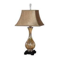 Uttermost - Tisbury Gold Glass Lamp - Fluted Golden Tinted Glass With Polished Aluminum Accents And Satin Black Details. The Rectangle Bell Shade Is A Silken, Golden Taupe Fabric.