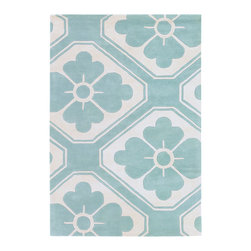 Thomas Paul - Thomas Paul Obi Aqua Wool Rug - Intermingling floral and geometric pattern, art deco and graphic styles meet on Thomas Paul's Obi rug. The floor covering's aqua blue and cream palette adds modern flair. Available in several sizes; 100% New Zealand wool with cotton backing; Hand tufted; Pattern differs according to rug size (see images); Strong, resilient and static resistant for use in high-traffic areas; Some difference in color, size or shape is consistent with the nature of handmade products; Shedding is characteristic of fine wool and part of the natural wear-in process; Spot cleaning by hand or professional cleaning recommended; Rug pad recommended