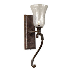 Uttermost - Galeana Glass Wall Sconces - Ask Venice to pay a little visit to your home with these mouth-blown glass sconces. Beautifully designed, these look like candles when you turn them on. The iron structure is trimmed with rope and finished with clay patinas to add age and drama.