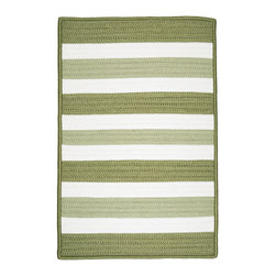 Colonial Mills, Inc. - Indoor/Outdoor Portico, Edamame Rug, Sample Swatch - This rug earns its stripes. Light and dark sage with white create fresh style to update any room in your home. Yet it's woven in worry-free polypropylene, so you can even use it poolside. It's fade and stain resistant and reversible for long-lasting comfort, color and beauty.