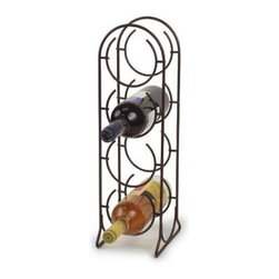 Spectrum Horseshoe 4 Bottle Wine Rack - Venetian Bronze - The Spectrum Horseshoe 4 Bottle Wine Rack has metal construction with Venitian Bronze finish for a golden tone. This wine rack holds up to 4 wine bottles in vertical formation. Decorative with arched top its stylish and eye-catching. You can place this wine rack on the floor or your countertop. Dimensions: 6.75L x 5.75W x 19H inches. About Spectrum Diversified DesignsSpectrum Diversified Designs based out of Cleveland Ohio operates out of a 130 000 square foot distribution center and provides services to nearly every continent on the globe. With a specialized team of experts in art design and logistics Spectrum consistently provides top-quality products that are functional attractive and cost-effective. Spectrum is dedicated to providing you with only the best in home accessories. From the kitchen to the bath and all in between you'll find exactly what you need for all of your home needs. The possibilities are endless.