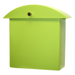 houseArt - Monet Mailbox, Key Lime - Contemporary Classic Original Design by Ginger Finley. Key Lime, a houseArt Tropical Color, our favorite!  We love everything chartreuse. Heavy duty, all aluminum wall mount mailbox, with a durable exterior powdercoated finish. Lid swings up for box opening. Installs simply with 2 screws. Matching Numbers/Letters available. Beautiful! Made in USA. Made 100% in Michigan. Compatible with Modern, Mid-Century Modern, Craftsman, and even Traditional.  Love your Mailbox!
