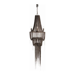 Arteriors - Yale Chandelier - Want to max out the drama of your favorite setting? Hang this fascinating fixture. Iron chains in an antique brass finish cascade across the tiers to wispy, wondrous effect.