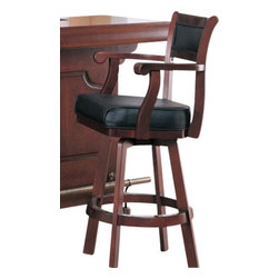 """Coaster - Bar Stool (Cherry) By Coaster - Cherry Finish Bar Stool Chair with Swivel Black Leather Seat and Back. You are looking at a brand new cherry finish bar chair with swivel leather cushion seat and back. This stool is designed on a cherry finish wood base frame with black leather cushion seat and back. Item is contemporary style for comfort, style and quality to last. Dimensions Measure: 22""""W x 23""""D x 45-1/2""""H"""