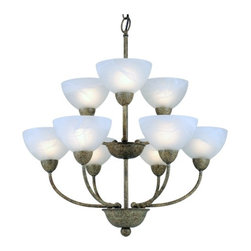 Design Classics Lighting - Grey Chandelier with Nine Lights and Alabaster Glass - 2932-55 - This two-tier chandelier has an impressive, yet minimalist design with nine alabaster glass bowls and a curvy frame in a sandstone finish. At 28 inches tall by 24 inches wide, it has a small stature for a two-tier chandelier, making it perfectly proportioned for an entryway or dining room. Takes nine 60-watt G16.5 bulbs (not included) for a bright, flattering illumination. Six feet of chain is also included. Don't let this exceptional value slip away!. Takes (9) 60-watt incandescent G16.5 bulb(s). Bulb(s) sold separately. Dry location rated.