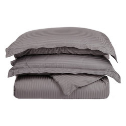 400 Thread Count Egyptian Cotton Full/Queen Grey Stripe Duvet Cover Set - 400 Thread Count Egyptian Cotton Full/Queen Grey Stripe Duvet Cover Set
