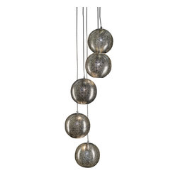 Artemano - Pierced 5-Cord Metal Pendant Lamp - Looking for that fun accent piece intended to capture everyone's attention? We've got just the lamp for you!  This ultra modern chandelier is made up of five identical hanging spheres each handcrafted of perforated iron metal and suspended to each fall at different heights. The best part about this playful pendant lamp is that it not only provides ambient lighting but also serves as a unique work of art that guests will surely admire!