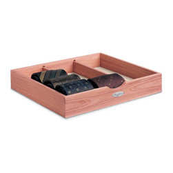 Cedar Tie Box - Whether in a drawer or stacked neatly on a shelf, this Cedar Tie Box will keep your tie collection in tip-top shape. The aromatic cedar absorbs moisture to keep 12 or more ties fresh and the partitioned design keeps them wrinkle free and organized.