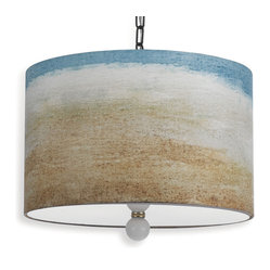 Painted Seaside Landscape Drum Pendant Light