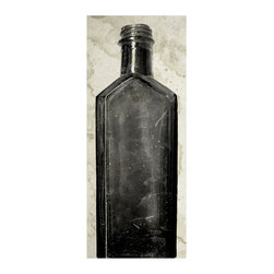 Kathy Kuo Home - Copper River Industrial Loft Bottle Black White Photo Wall Art - F - Unframed - Pour yourself a long drink of high style with this stunning print. A grainy, high-contrast photograph of a 200-year-old bottle discovered during an Alaskan excavation dig, this piece adds rich history and contemporary edge to any space.
