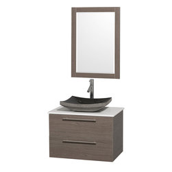 Wyndham - Amare 30in. Wall Vanity Set in Grey Oak w/ White Stone Top & Black Granite Sin - Modern clean lines and a truly elegant design aesthetic meet affordability in the Wyndham Collection Amare Vanity. Available with green glass or pure white man-made stone counters, and featuring soft close door hinges and drawer glides, you'll never hear a noisy door again! Meticulously finished with brushed Chrome hardware, the attention to detail on this elegant contemporary vanity is unrivalled.