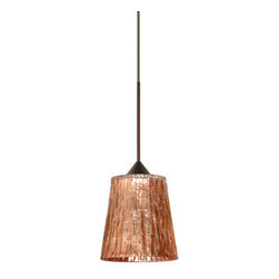 """BESA Lighting - BESA Lighting 1XC-5125CF Nico 1 Light Halogen Cord-Hung Mini Pendant - Nico 4 features a tapered drum shape that fits beautifully in transitional spaces. Our Stone Copper Foil glass is a clear blown glass with an outer texture of coarse sandstone, with distressed metal foil hand applied to the inside. Inspired by the elements of nature, the appearance of the surface resembles the beautiful cut patterning of a rock formation. This blown glass is handcrafted by a skilled artisan, utilizing century-old techniques passed down from generation to generation. Each piece of this decor has its own artistic nature that can be individually appreciated. The 12V cord pendant fixture is equipped with a 10' coaxial cord with teflon jacket and an """"Easy Install"""" Dome monopoint canopy.Features:"""