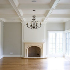 living rooms - gray walls coffered ceiling limestone fireplace French doors deco