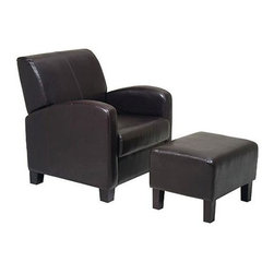 Office Star - Contemporary 2 Pc Chair w Ottoman Set in Moch - Upholstered in faux leather in a rich mocha brown, this two-piece chair and ottoman set will be a spirited addition to your home's decor. Perfect for lounging with the latest bestseller, the contemporary set features a chair with arched arms and gently tapered wood feet and an upholstered ottoman with a simple, angular design. Mocha Brown faux leather. Finished in durable mocha brown PU vinyl. Attractive design compliments most any home decor. Solid wood feet in espresso finish. Ottoman feet require assembly. 30 in. W x 33 in L x 34.5 in. H