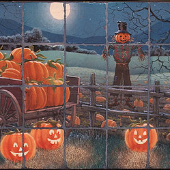 Tile Art Gallery - Splash Decor Tile Mural - Doug Laird - Pumpkin Patch - It's a Halloween you won't forget when you install this easy-to-install tile mural on your tiled opening kitchen backsplash. Pumpkins come alive and the scarecrow awaits the witch on her broomstick.