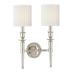 Hudson Valley Lighting - Hudson Valley Lighting 4902-PN Abington 2 Light Wall Sconce, Polished Nickel - This 2 light Wall Sconce from the Abington collection by Hudson Valley Lighting will enhance your home with a perfect mix of form and function. The features include a Polished Nickel finish applied by experts. This item qualifies for free shipping!