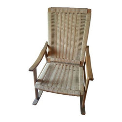 Hans Wegner - Pre-owned Hans Wegner Style Rope Rocking Chair - Comfortable iconic Danish piece. In excellent condition with all of the woven ropes taught and no fraying. Two of the screws underneath are new and have been added to reinforce the seat. They are only seen when looking underneath the rocker.